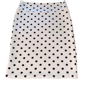 LuLaRoe White, Black Polka Dot Cassie Pencil Skirt